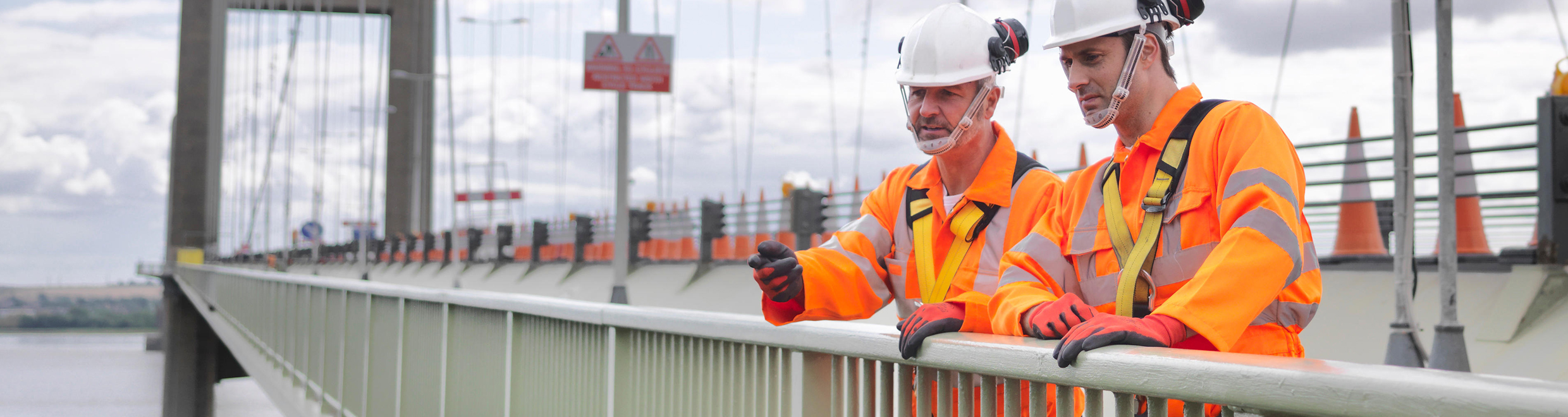 Bridge Workers in orange PPE